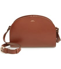 a.p.c. sac demi lune leather crossbody bag - brown