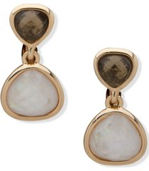 anne klein gold-tone jet & white stone clip-on drop earrings