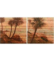 "empire art direct palm breeze i ii fine art giclee printed on solid fir wood planks wooden wall art, 36"" x 36"" x 1.5"""