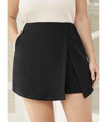 yoins plus talla abertura de bolsillo lateral diseño shorts