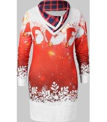 christmas plus size printed tunic sweatshirt