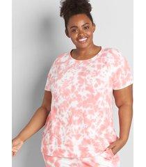 lane bryant women's french terry tie-dye sweatshirt 38/40 tea rose