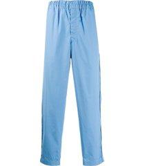 comme des garçons shirt straight-leg cotton trousers - blue