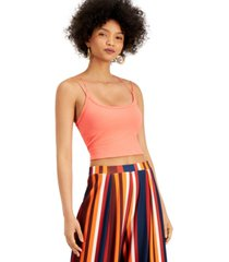 bar iii ribbed strappy seamless cropped camisole top, created for macy's
