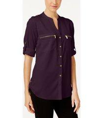 calvin klein zip-pocket utility blouse