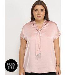 blusa lemise plus size amarração manga curta feminina