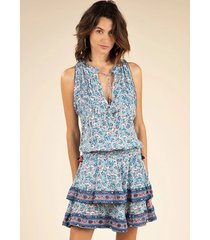 poupette st barth mini amora layered dress blue cerise