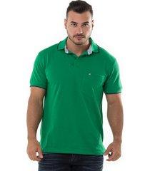 camiseta polo hamer, basica con bolsillo, para hombre color verde antioquia