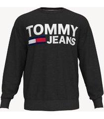 tommy hilfiger men's bold logo sweatshirt jet black - s