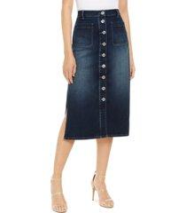 inc high-rise side-slit denim boot skirt, created for macy's