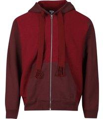 bi-color anagram zipped hoodie