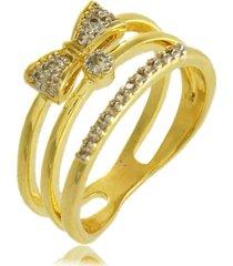 anel triplo de laço e detalhes em zircônias 3rs semijoias dourado