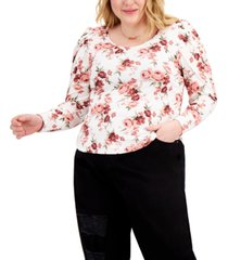 full circle trends trendy plus size ruched-sleeve top