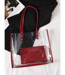 bolso de hombro transparente burdeos con tirantes y bolsa interior