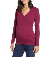 angel maternity crossover maternity/nursing top, size xx-large in burgundy red at nordstrom