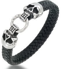 andrew charles by andy hilfiger men's leather skull head bracelet in stainless steel