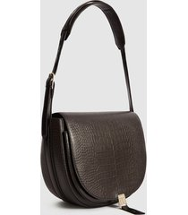reiss hurlingham croc - croc effect leather shoulder bag in chocolate, womens