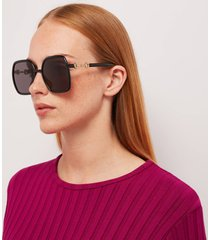 gucci women's horsebit combi frame sunglasses - black/black/grey