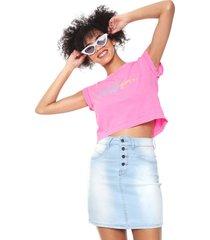 camiseta cropped volcom and on rosa - rosa - feminino - dafiti