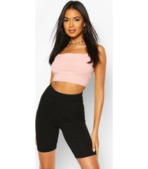 recycled strappy rib crop top, peach