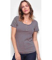 blusa top moda listrada botões feminina - feminino