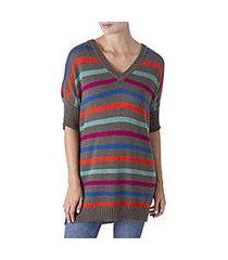 alpaca blend long tunic sweater, 'rise up' (peru)