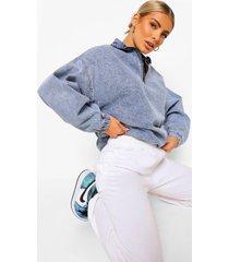 acid wash gebleekte jas met hoge kraag en rits, mid blue