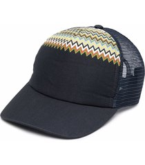 missoni crochet-knit panel cap - blue