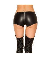 sexy gogo lederlook shorts zwart