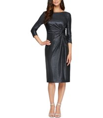 alex evenings metallic knot-detail sheath dress