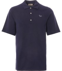 maison kitsune fox patch polo shirt | navy | 7kj4006-nvy