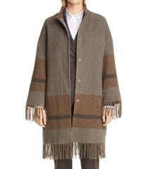 women's fabiana filippi fringe hem wool blend coat, size small - brown