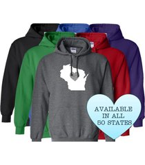 wisconsin hoodie sweatshirt love home heart unisex men women state