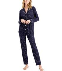 alfani women's ultra-soft printed pajama set, created for macy's