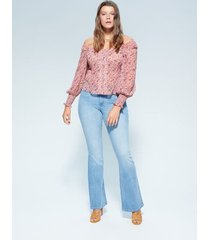 gebloemde off-shoulder blouse
