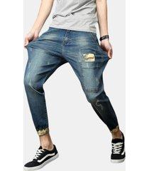 plus harem patchwork camo allentato elastico di grandi dimensioni jeans per uomo