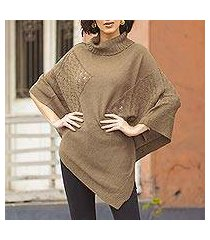 knit poncho, 'copper reality squared' (peru)