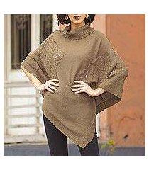 knit poncho, 'copper reality squared' (peru)
