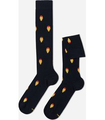 calzedonia marvel pattern cotton long socks man blue size tu