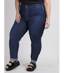calça jeans feminina plus size sawary cropped cintura alta barra dobrada com strass azul escuro