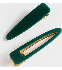 cara hinge hair clip set - teal