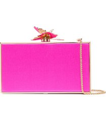 sophia webster clara butterfly satin box clutch - pink