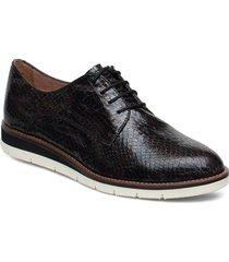 woms lace-up snörade skor låga svart tamaris
