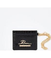 river island womens black croc embossed card holder wallet