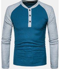 uomo t-shirt casual in metà cardigan con bottoni scollo tondo a maniche lunghe