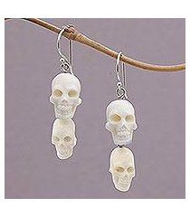 bone dangle earrings, 'trunyan skulls' (indonesia)