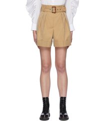 belted pleat detail military shorts