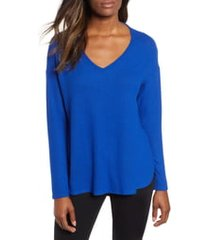 women's gibson cozy v-neck top, size x-small - blue