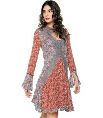 vestido azul grisáceo-rojo-blanco hueso glamorous