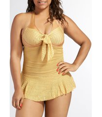 sexy halterneck backless drawstring ruffled lace one-piece women's swimwear